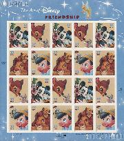 2004 The Art of Disney: Friendship 37 Cent US Postage Stamp Unused Sheet of 20 Scott #3865-3868
