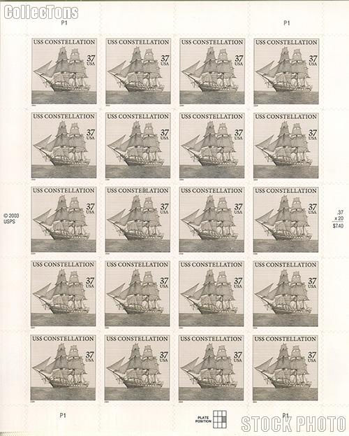 2004 U.S.S. Constellation 37 Cent US Postage Stamp Unused Sheet of 20 Scott #3869