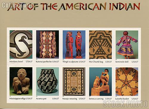 2004 Art of the American Indian 37 Cent US Postage Stamp Unused Sheet of 10 Scott #3873