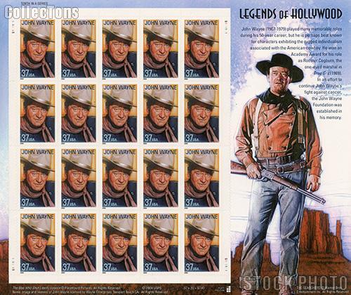 2004 John Wayne 37 Cent US Postage Stamp Unused Sheet of 20 Scott #3876