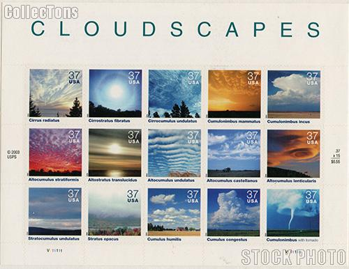 2004 Cloudscapes 37 Cent US Postage Stamp Unused Sheet of 15 Scott #3878