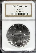 1984-P Los Angeles Olympiad Olympic Coliseum Commemorative Uncirculated Silver Dollar in NGC MS 69