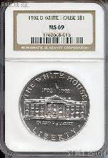 1992-D White House 200th Anniversary Commemorative Uncirculated Silver Dollar in NGC MS 69