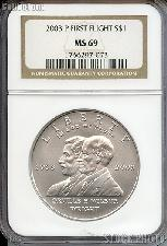 2003-P First Flight Commemorative Uncirculated Silver Dollar in NGC MS 69