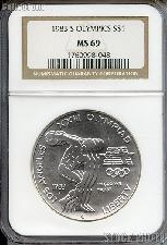 1983-S Discus Thrower Olympic Commemorative Uncirculated Silver Dollar in NGC MS 69