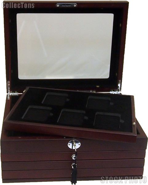Deluxe Glass-Top Display Box for 20 slabs with Latch and Key