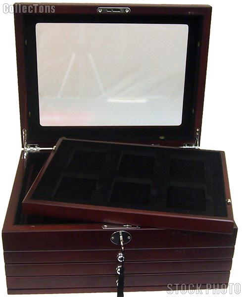 Deluxe Glass-Top Display Box for 24 slabs with Latch and Key