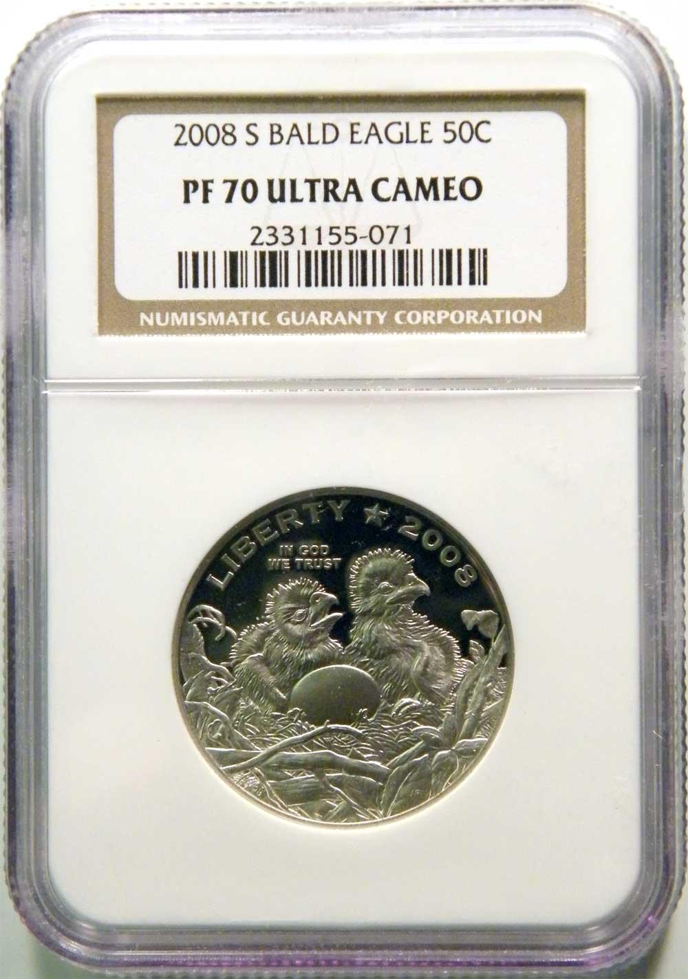 2008-S 50c Bald Eagle Half Dollar in NGC PF 70 UCAM COMMEMORATIVE ULTRA CAMEO