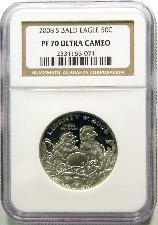 2008-S 50c Bald Eagle Half Dollar in NGC PF 70 UCAM COMMEMORATIVE ULTRA CAMEO