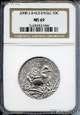 2008-S Bald Eagle Commemorative Clad Half Dollar Coin in NGC MS 69