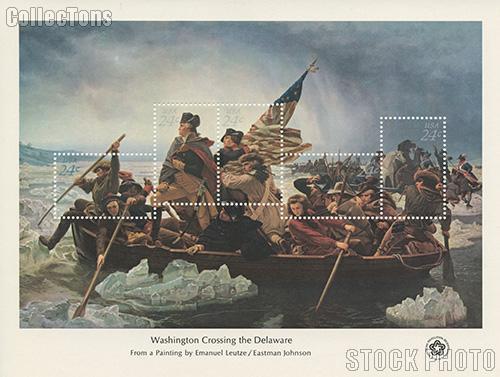 1976 Washington Crossing the Delaware 24 Cent US Postage Stamp MNH Souvenir Sheet of 5 Scott #1688