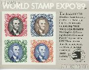 1989 World Stamp Expo '89 90 Cent US Postage Stamp Souvenir Sheet of 4 Scott #2433