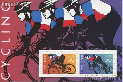 1996 Cycling US Postage Stamp MNH Souvenir Sheet of 2 Scott #3119