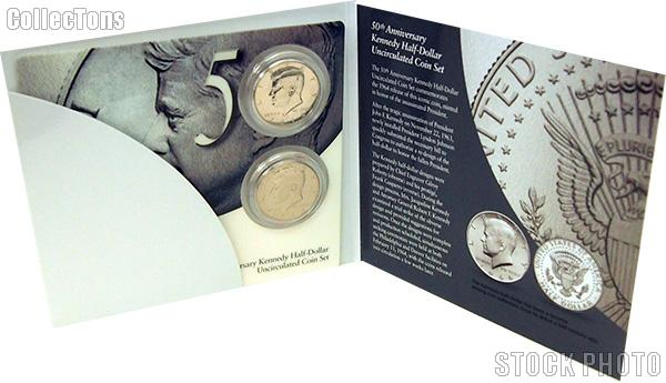 2014 P&D Kennedy Half Dollar 50th Anniversary Edition Uncirculated Coin Set