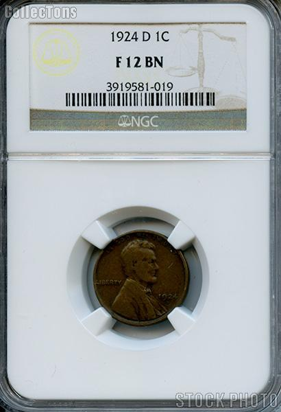 1924-D Lincoln Wheat Cent in NGC F 12 BN