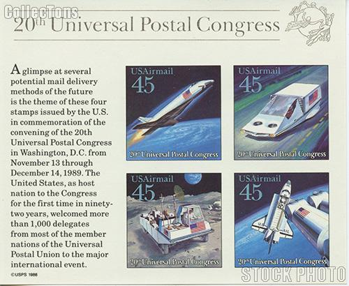 1989 20th UPU Congress Futuristic Mail Delivery 45 Cent US Postage Air Stamp Souvenir Sheet