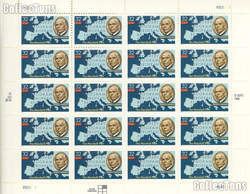 1997 Marshall Plan 50th Anniversary 32 Cent US Postage Stamp MNH Sheet of 20 Scott #3141