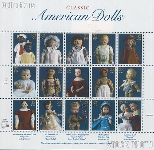 1997 American Dolls 32 Cent US Postage Stamp MNH Sheet of 15 Scott #3151