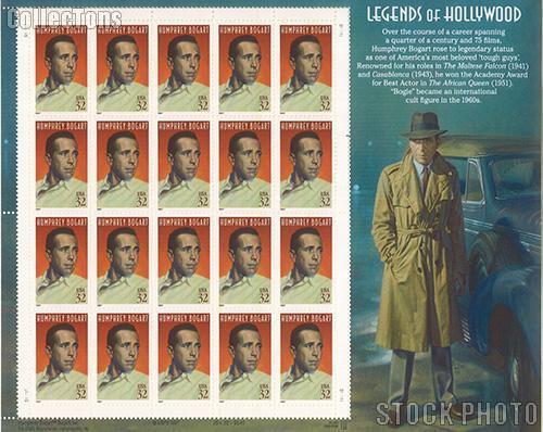 1997 Legends of Hollywood - Humphrey Bogart 32 Cent US Postage Stamp MNH Sheet of 20 Scott #3152
