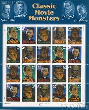 1997 Classic Movie Monsters 32 Cent US Postage Stamp MNH Sheet of 20 Scott #3168-#3172