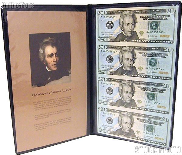 2004 Andrew Jackson $20 Bill Star Note Uncut Currency Set (4 bills) in Portfolio from World Reserve Monetary Exchange