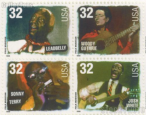 1998 American Music Series - Folk Musicians 32 Cent US Postage Stamp MNH Sheet of 20 Scott #3212-#3215