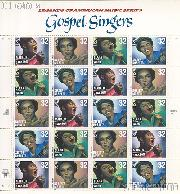 1998 American Music Series - Gospel Singers 32 Cent US Postage Stamp MNH Sheet of 20 Scott #3216-#3219