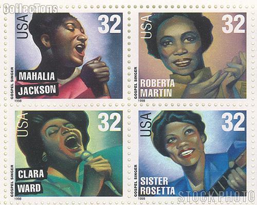 1998 American Music Series - Gospel Singers 32 Cent US Postage Stamp MNH Sheet of 20 Scott #3216-#3219