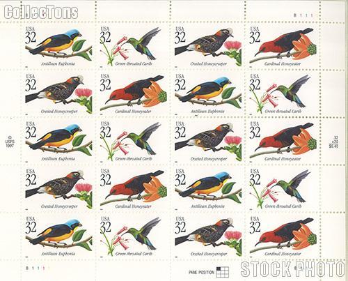 1998 Tropical Birds 32 Cent US Postage Stamp MNH Sheet of 20 Scott #3222-#3225
