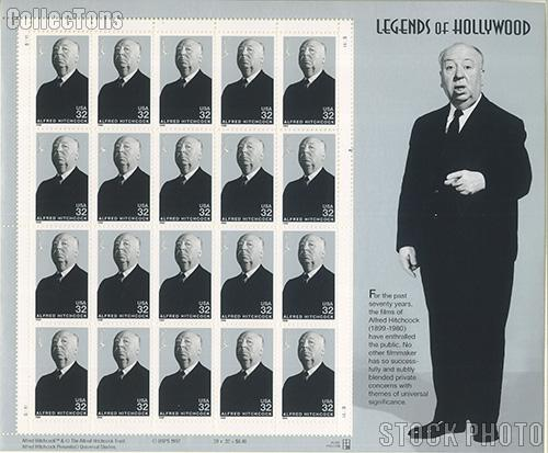 1998 Legends of Hollywood - Alfred Hitchcock 32 Cent US Postage Stamp MNH Sheet of 20 Scott #3226