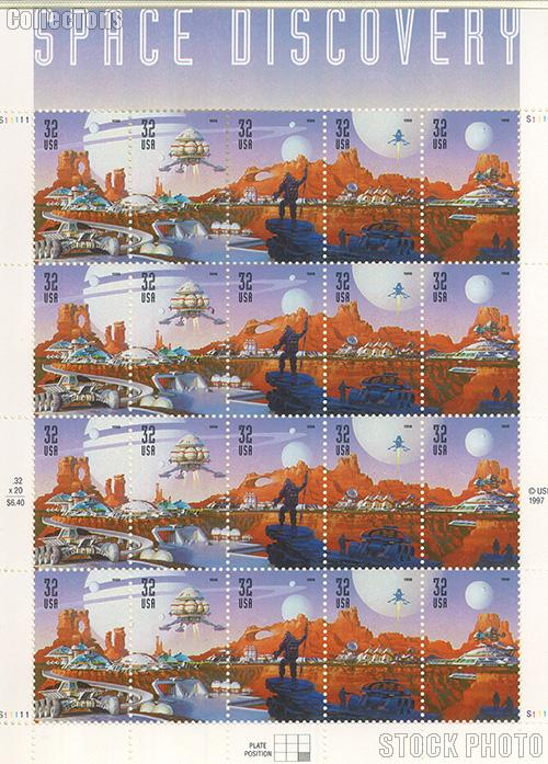 1998 Space Discovery 32 Cent US Postage Stamp MNH Sheet of 20 Scott #3238-#3242