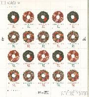 1998 Christmas - Wreaths 32 Cent US Postage Stamp Unused Sheet of 20 Scott #3249-#3252