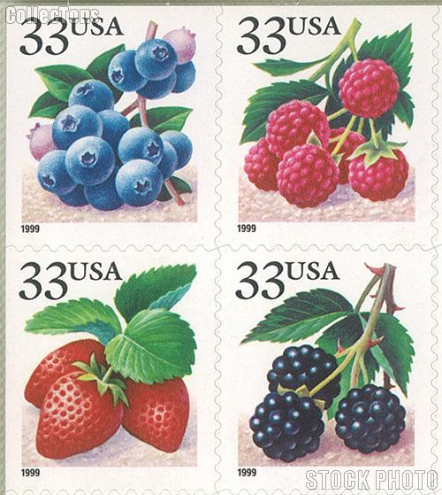 1999 Berries 33 Cent US Postage Stamp Unused Booklet of 20 Scott #3294B - #3297B