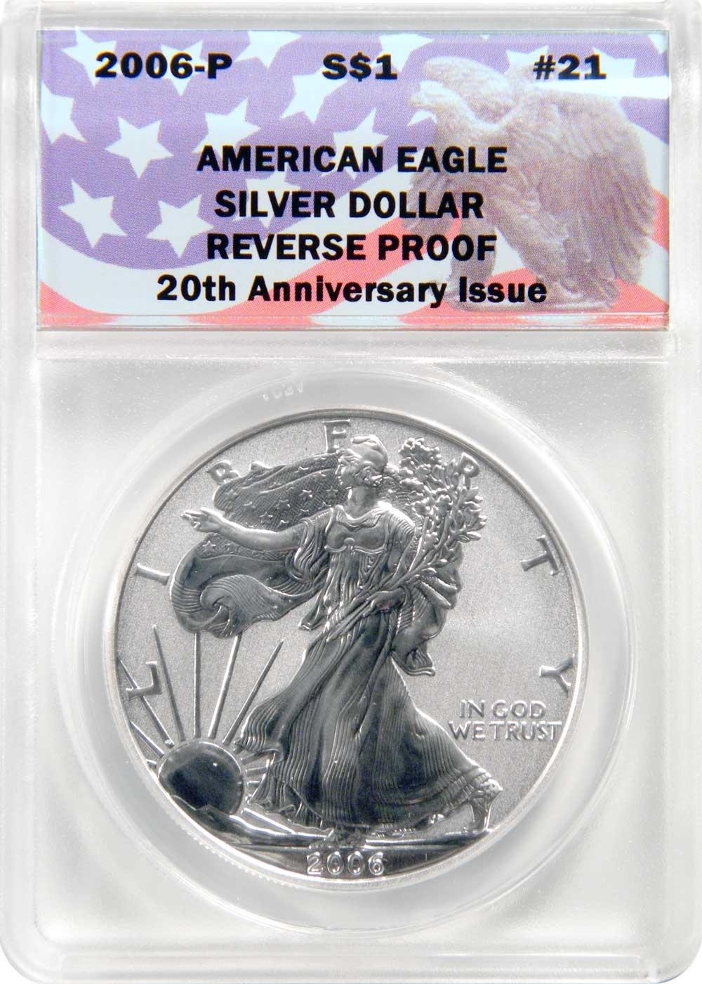 CollecTons Keepers #21: 2006-P Reverse Proof American Eagle Silver Dollar Certified in Exclusive ANACS Holder