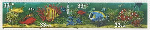 1999 Aquarium Fish - Reef Fish 33 Cent US Postage Stamp Unused Sheet of 20 Scott #3317-#3320