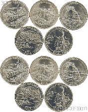 2014 National Park Quarters Complete Set P & D Uncirculated (10 Coins) TN, VA, UT, CO, FL