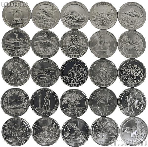 2010-2014 National Park Quarters Complete Set Philadelphia (P) Mint  Uncirculated (25 Coins)