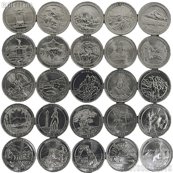 2010-2014 National Park Quarters Complete Set Denver (D) Mint  Uncirculated (25 Coins)