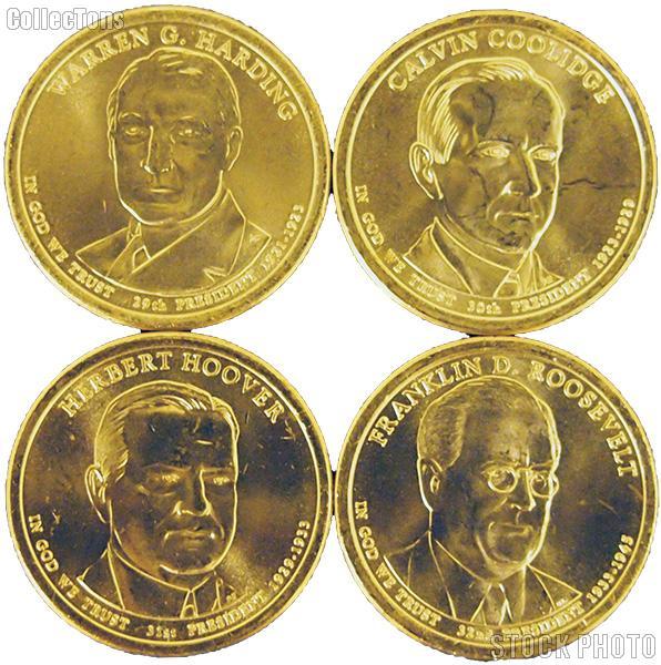 2014-D Presidential Dollar Set BU Full Year Set of 4 Coins from Denver Mint