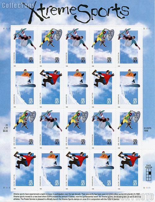 1999 Xtreme Sports 33 Cent US Postage Stamp Unused Sheet of 20 Scott #3321-#3324