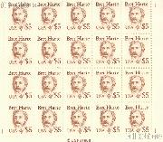 1986 Great Americans Issue - Bret Harte 5 Dollar US Postage Stamp MNH Sheet of 20 Scott #2196