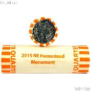 2015-P Nebraska Homestead National Monument of America National Park Quarters Bank Wrapped Roll 40 Coins GEM BU