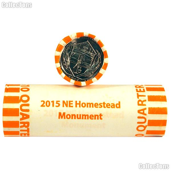 2015 P & D Nebraska Homestead National Monument of America National Park Quarter Bank Wrapped Rolls 80 Coins GEM BU