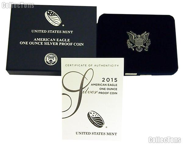 2015-W American Silver Eagle 1 oz Silver Proof Coin OGP Replacement Box and COA