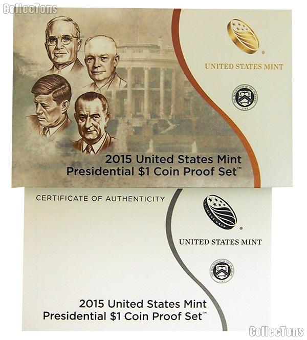 2015 U.S. Mint PRESIDENTIAL DOLLAR Proof Set OGP Replacement Box and COA