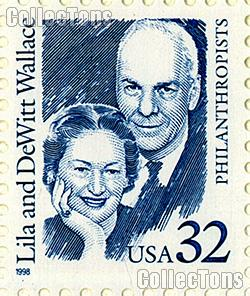 1998 Lila and DeWitt Wallace - Great American Series 32 Cent US Postage Stamp MNH Sheet of 20 Scott #2936