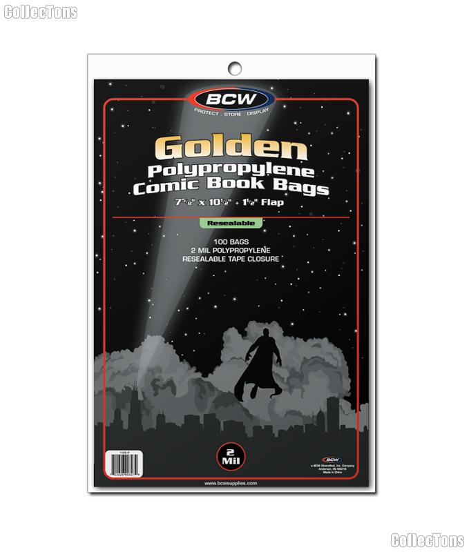Golden Age Comic Book Resealable Bags Polypropylene - Pack of 100 by BCW