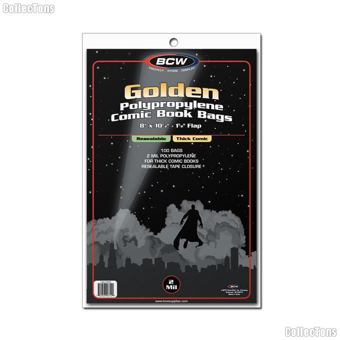 Golden Age Comic Book Thick Resealable Bags Polypropylene - Pack of 100 by BCW