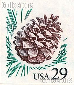 1993 Pine Cone -  Flora and Fauna Series 29 Cent US Postage Stamp Unused Booklet of 18 Scott #2491a