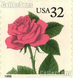 1995 Pink Rose -  Flora and Fauna Series 32 Cent US Postage Stamp Unused Booklet of 20 Scott #2492a